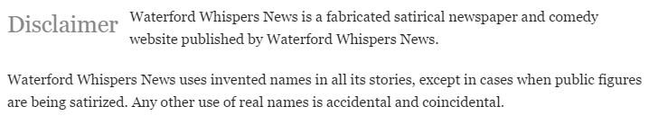 Waterford Whispers News - Admittedly satire.