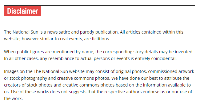 Disclaimer for The National Sun, revealing the satirical nature of the site