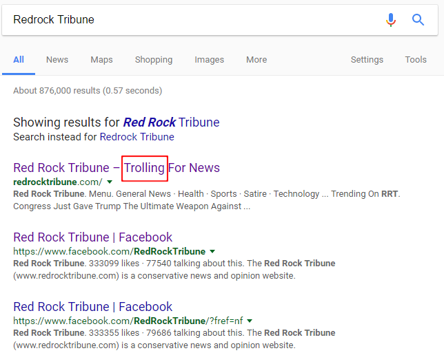 Google Search for Redrock Tribune