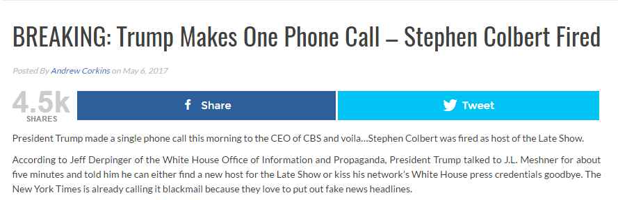usatodaysnews.com, Fake news -- Trump Calls -- Colbert Fired