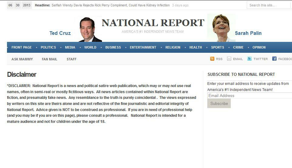 National Report Disclaimer Page; reprinted here from Snopes, because National Report took it down.