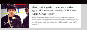 Ruckus Bucket referencing the fake Blake Griffin story in a separate story about Justin Bieber.